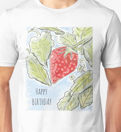 """Happy Birthday"" Strawberry Painting Unisex T-Shirt"