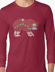 Folk Art Spirit Bear with Fish Long Sleeve T-Shirt