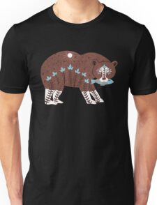Folk Art Spirit Bear with Fish Unisex T-Shirt