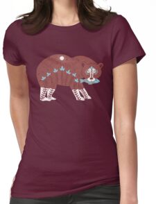Folk Art Spirit Bear with Fish Womens Fitted T-Shirt