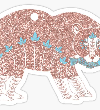 Folk Art Spirit Bear with Fish Sticker