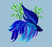 Big Blue Siamese Fighting Fish Womens Fitted T-Shirt