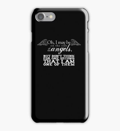 Side of the Angels - Black iPhone Case/Skin