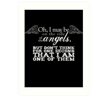Side of the Angels - Black Art Print