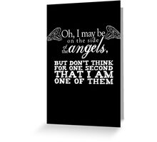 Side of the Angels - Black Greeting Card
