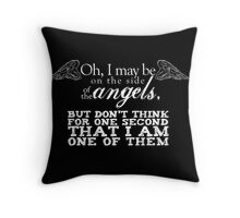 Side of the Angels - Black Throw Pillow
