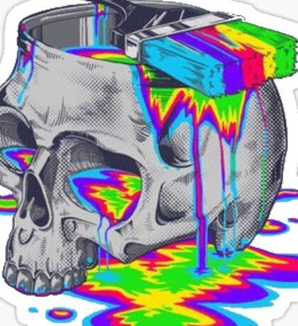 Trippy Colorful Skull Sticker
