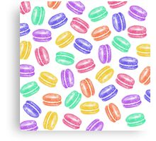 Colorful Hand Painted Watercolor Macaroon Cookies Canvas Print