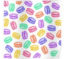 Colorful Hand Painted Watercolor Macaroon Cookies Poster