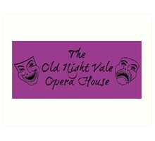 "Welcome To Night Vale ""The Old Night Vale Opera House"" Black Writing, Purple Background Art Print"