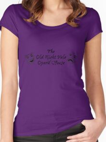 "Welcome To Night Vale ""The Old Night Vale Opera House"" Black Writing, Purple Background Women's Fitted Scoop T-Shirt"