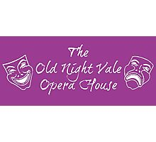 """Welcome To Night Vale """"The Old Night Vale Opera House"""" White Writing, Purple Background Photographic Print"""