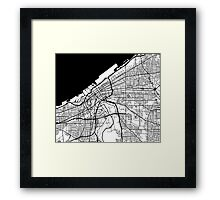 Cleveland Map - Black Inverted Framed Print