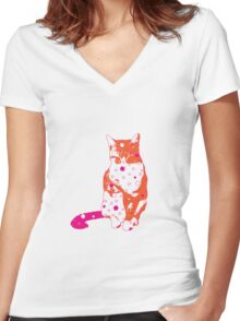 Cat in Orange and Hot Pink Women's Fitted V-Neck T-Shirt