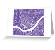 Cincinnati Map - Purple Greeting Card