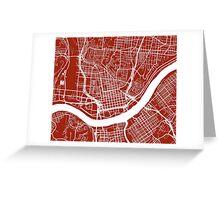 Cincinnati Map - Dark Red Greeting Card