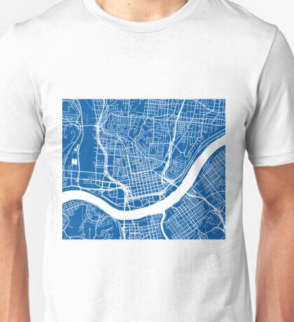 Cincinnati Map - Deep Blue Unisex T-Shirt