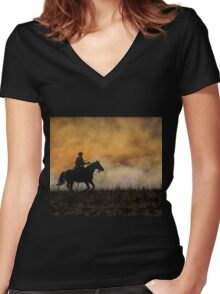 Riding the Fire Line Women's Fitted V-Neck T-Shirt