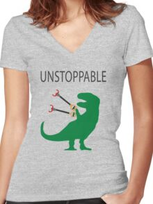 Unstoppable T.Rex Women's Fitted V-Neck T-Shirt