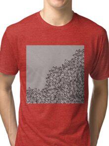 Modern Hand Drawn Foliage Leaves and Stripes Tri-blend T-Shirt