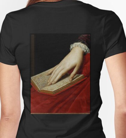 Renaissance old master cropped image, hand on book Womens Fitted T-Shirt