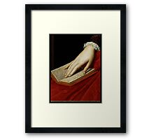 Renaissance old master cropped image, hand on book Framed Print