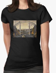 'View of Mt. Fuji' by Katsushika Hokusai (Reproduction) Womens Fitted T-Shirt