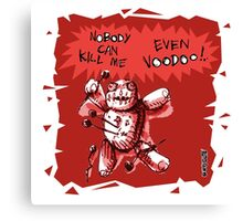 cartoon style voodoo baby with red background Canvas Print