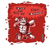 cartoon style voodoo baby with red background Photographic Print