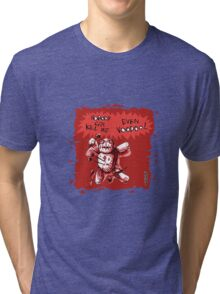 cartoon style voodoo baby with red background Tri-blend T-Shirt