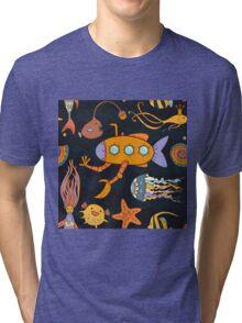 Yellow submarine in the deep ocean Tri-blend T-Shirt