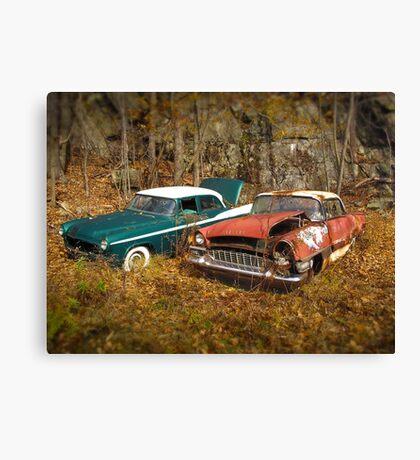 Abandoned Vintage Cars Canvas Print