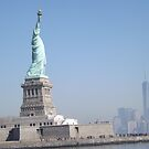 Statue of Liberty, Liberty Island, World Trade Center, Lower Manhattan Skyline, by lenspiro