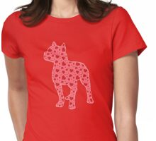 Pitbull Valentine Hearts Pattern Womens Fitted T-Shirt