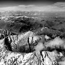 From the air ( 1 ) Looking Out in B & W by Larry Lingard-Davis