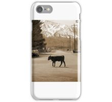 Cow crossing the road. iPhone Case/Skin