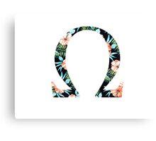 Omega Floral Greek Letter Canvas Print