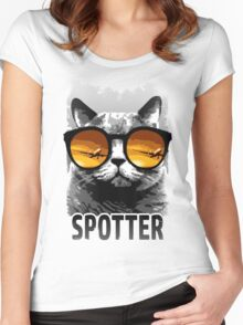 Plane Spotting Cat Women's Fitted Scoop T-Shirt