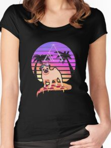 Pizza Pug Women's Fitted Scoop T-Shirt