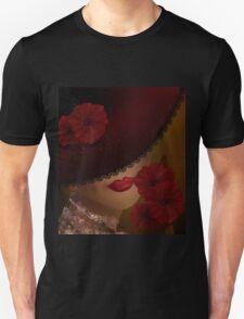 Elegant beautiful woman in a lace hat retro Unisex T-Shirt