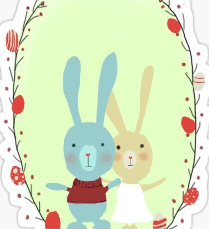 Springtime Easter Bunnies Sticker