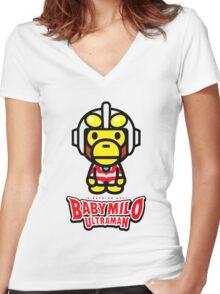 Ultraman Baby Milo Women's Fitted V-Neck T-Shirt