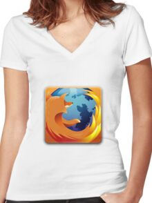 Firefox Button Women's Fitted V-Neck T-Shirt