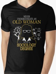 Never Underestimate An Old Woman With A Sociology Degree Mens V-Neck T-Shirt