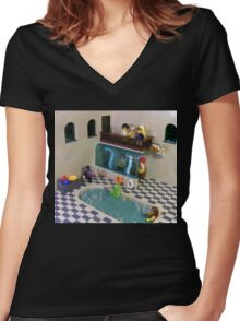 The Spa of Niflheim Women's Fitted V-Neck T-Shirt