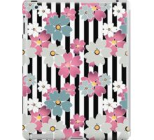 Seamless texture of Black and white shelves and pink flowers Colored, colorful,colors, graphics, art design, stripes, flowers, textile, background iPad Case/Skin