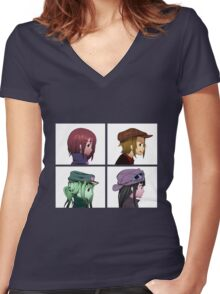 Houkago Tea Time (K-ON!) and Gorillaz mashup Women's Fitted V-Neck T-Shirt