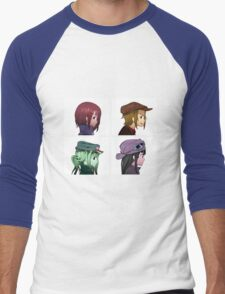 Houkago Tea Time (K-ON!) and Gorillaz mashup Men's Baseball ¾ T-Shirt