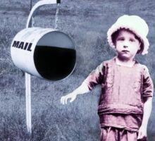 Vintage photo of young girl and mail box Sticker