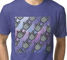Pixel Hands, Colorful Clouds Tri-blend T-Shirt